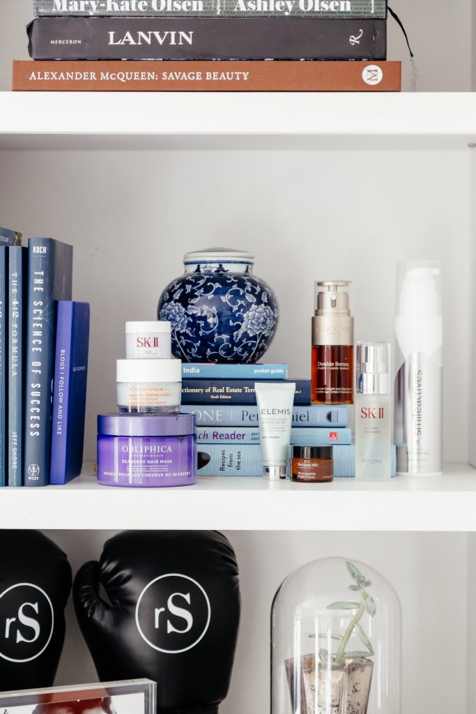 blue purple shelf decor